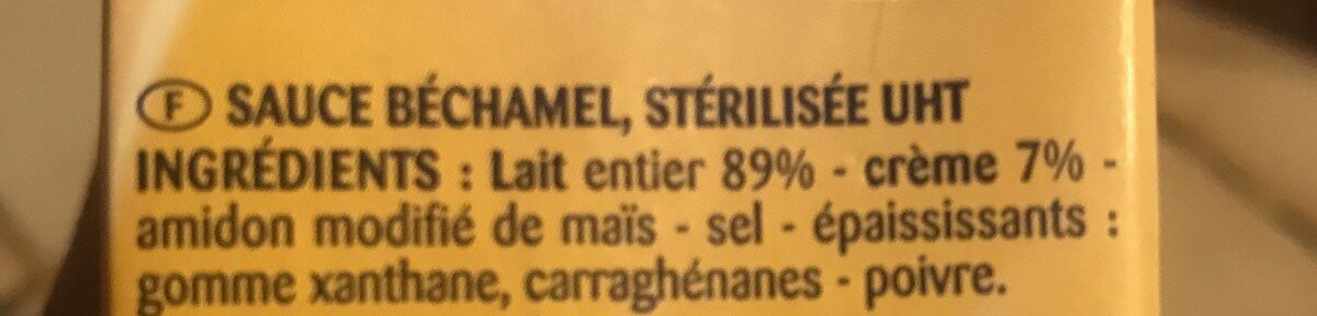Sauce béchamel stérilisée UHT - Ingrédients