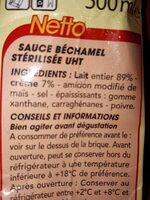 Sauce béchamel stérilisée UHT - Nutrition facts