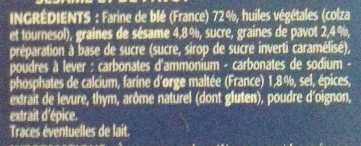 Crackers au Sésame & Pavot - Ingrédients
