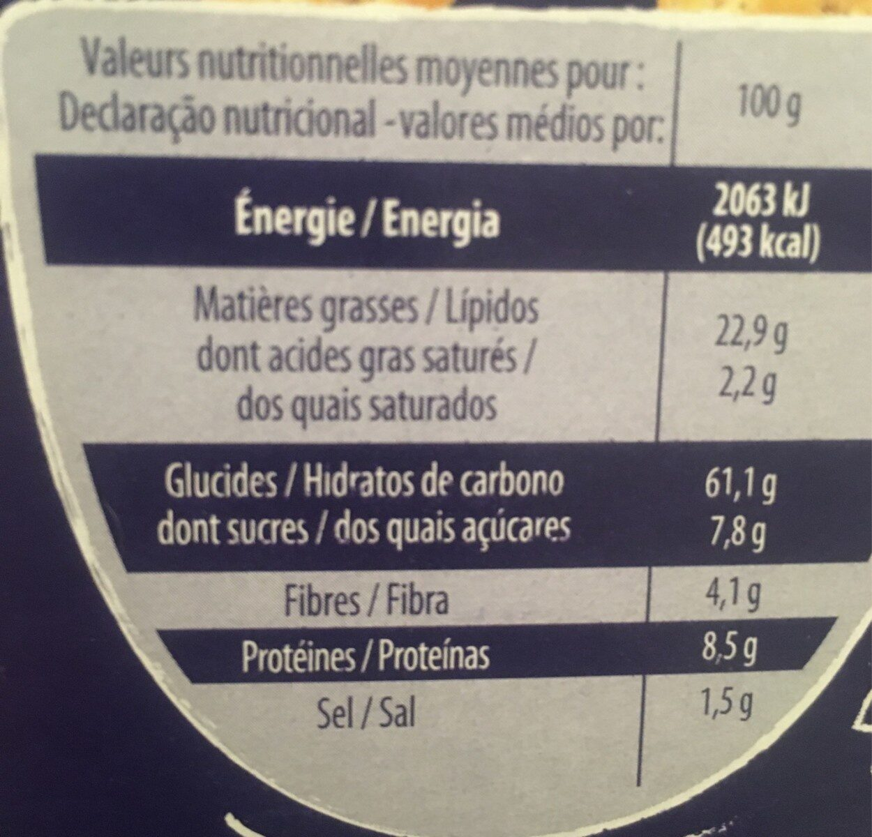 Crackers au Sésame & Pavot - Voedingswaarden - fr