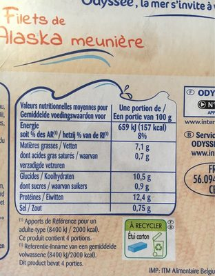 Odyssee, Filets de Colin d'Alaska facon Meuniere, les 4 filets de 100 g - Voedingswaarden - fr