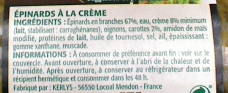 Épinards mitonnés à la crème - Ingrédients - fr