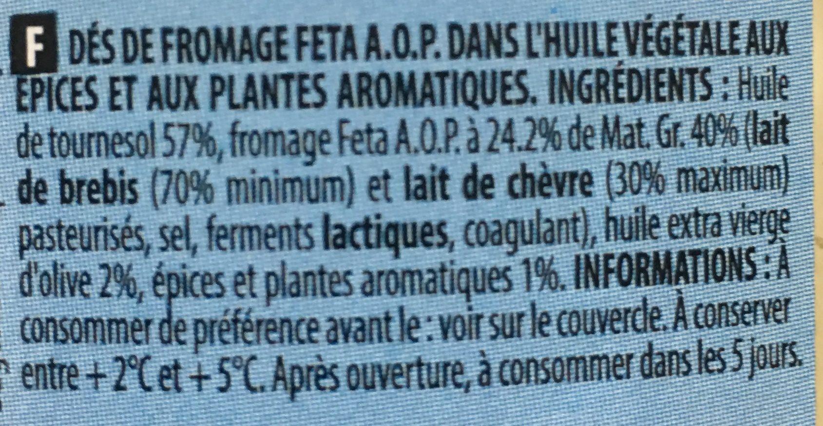 Dés de Feta dans huile aux épices & herbes - Ingrediënten - fr