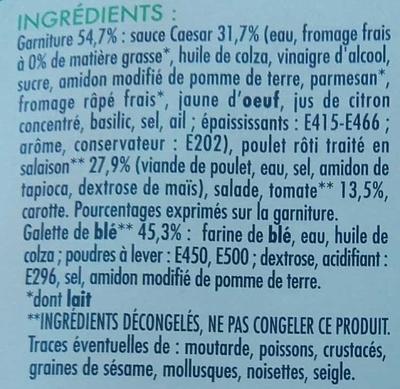 Wrap Poulet crudités sauce Caesar - Ingredients