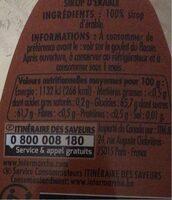 Sirop d'érable - Informations nutritionnelles - fr
