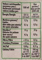 Riz nature calcium - Informations nutritionnelles - fr