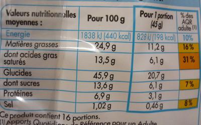 Pains au Chocolat (x 16) Format familial 720 g - Informations nutritionnelles
