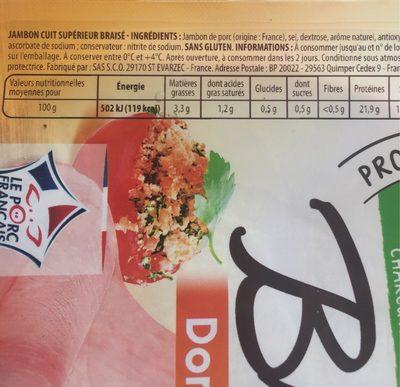 Le braisé - Nutrition facts - fr