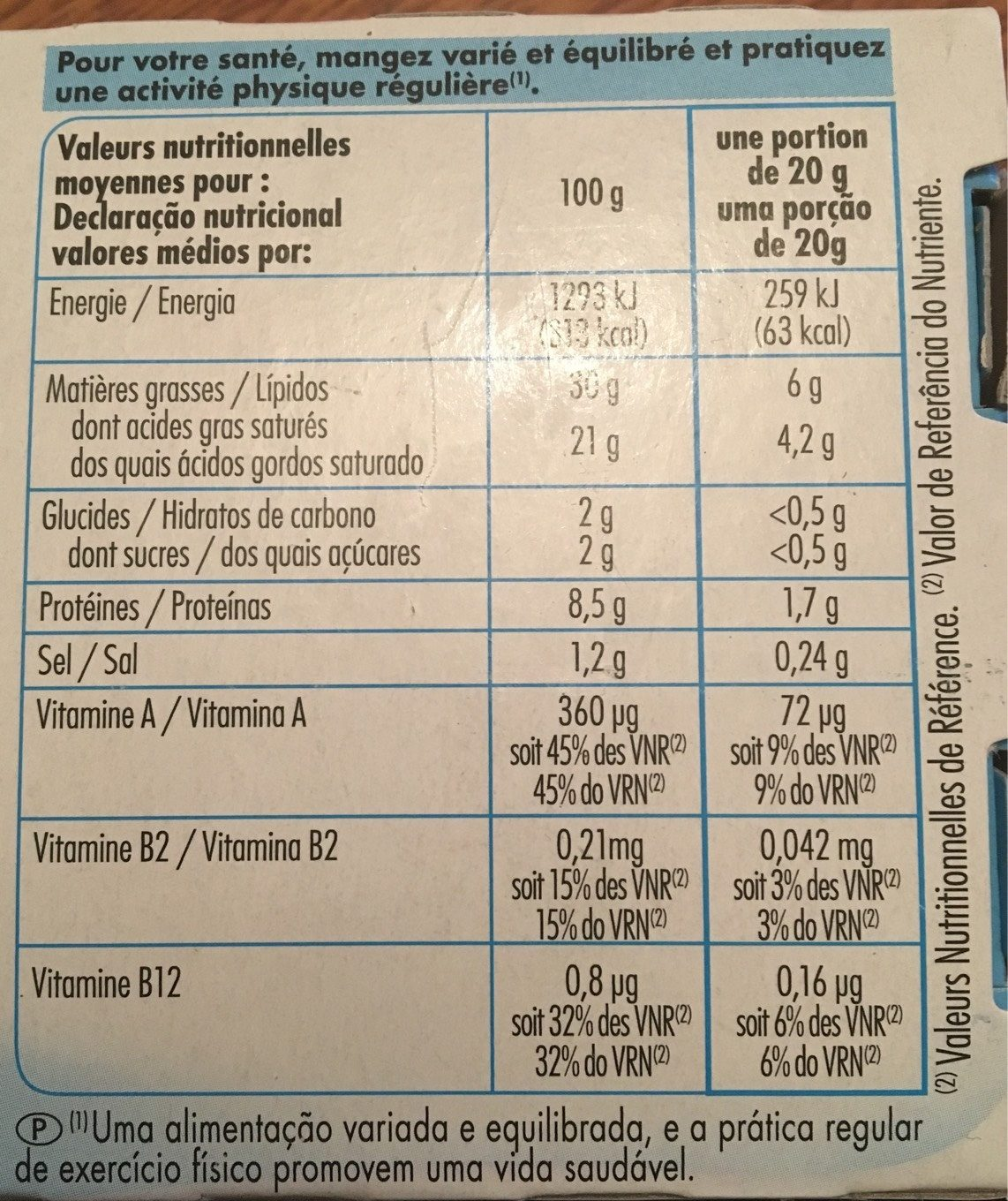 Beurre - Nutrition facts - fr