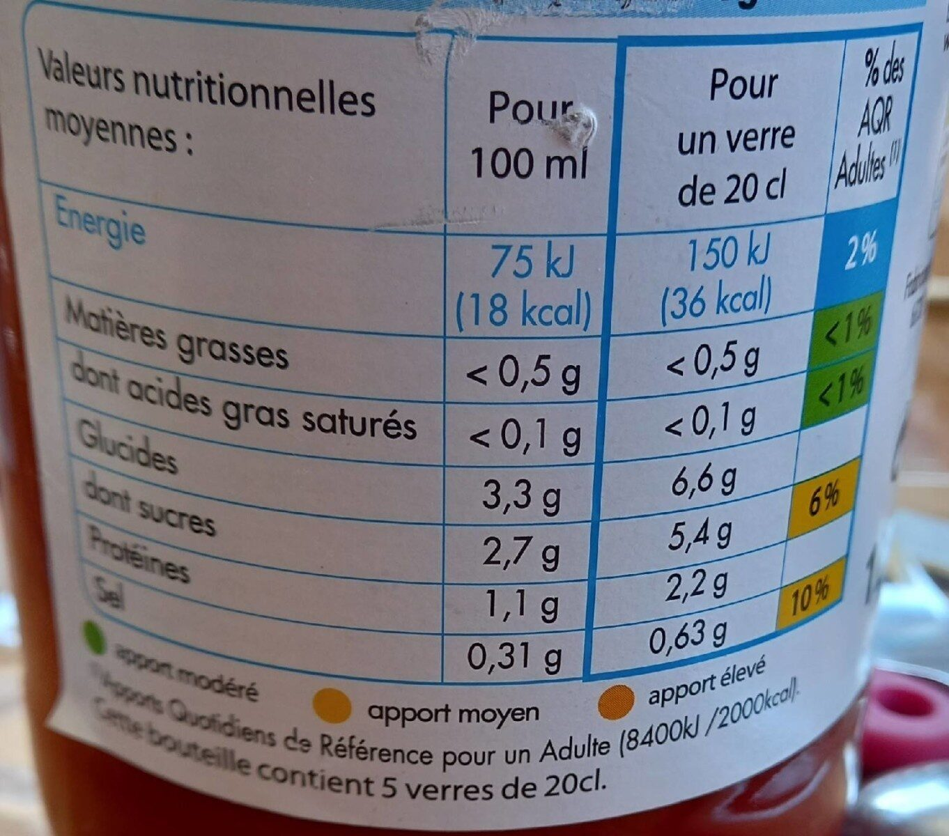 Jus de tomate salé à 3g/l - Valori nutrizionali - fr