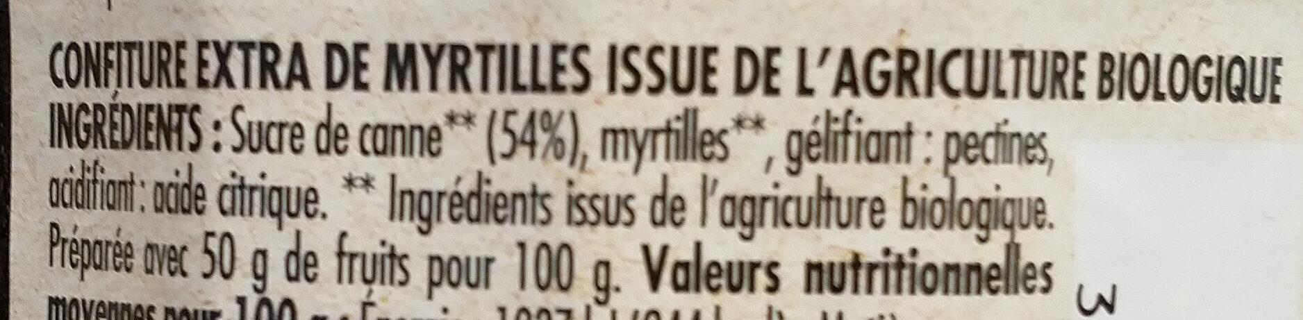 Confiture myrtille Bio - Ingredients - fr