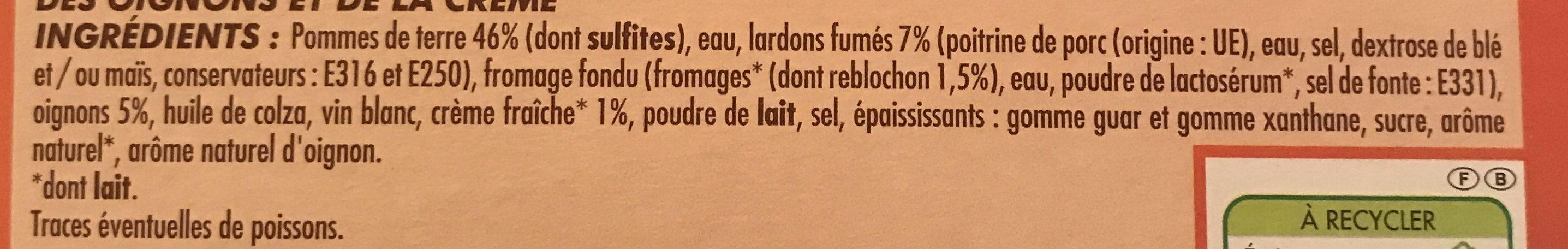 Tartiflette Claude Léger - Ingredients