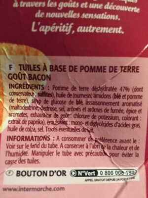 Tuiles snack saveur bacon craquantes - Ingrédients - fr