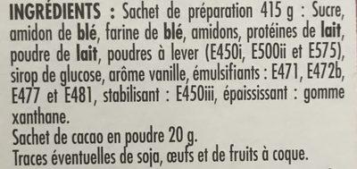 Préparation pour moelleux marbré - Ingrédients