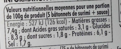 5 Bât' Surimi + Sauce Fromage Ciboulette & Citron - Informations nutritionnelles - fr