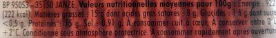 Tendre & Moelleux 15% M.G. - Informations nutritionnelles