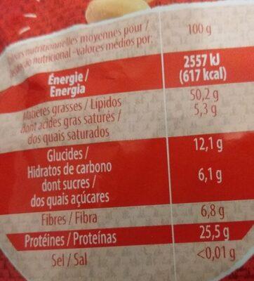 Cacahuètes grillées sans sel ajouté - Voedingswaarden - fr