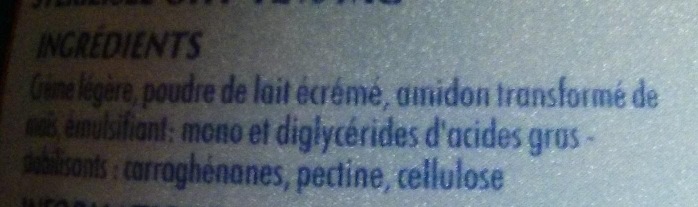 Crème légère - Ingrédients