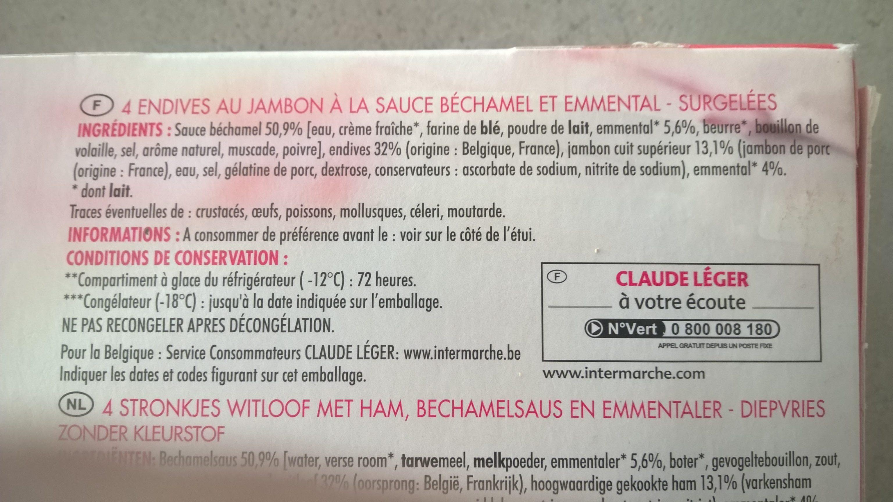 Endives au jambonSauce béchamel et emmental - Product