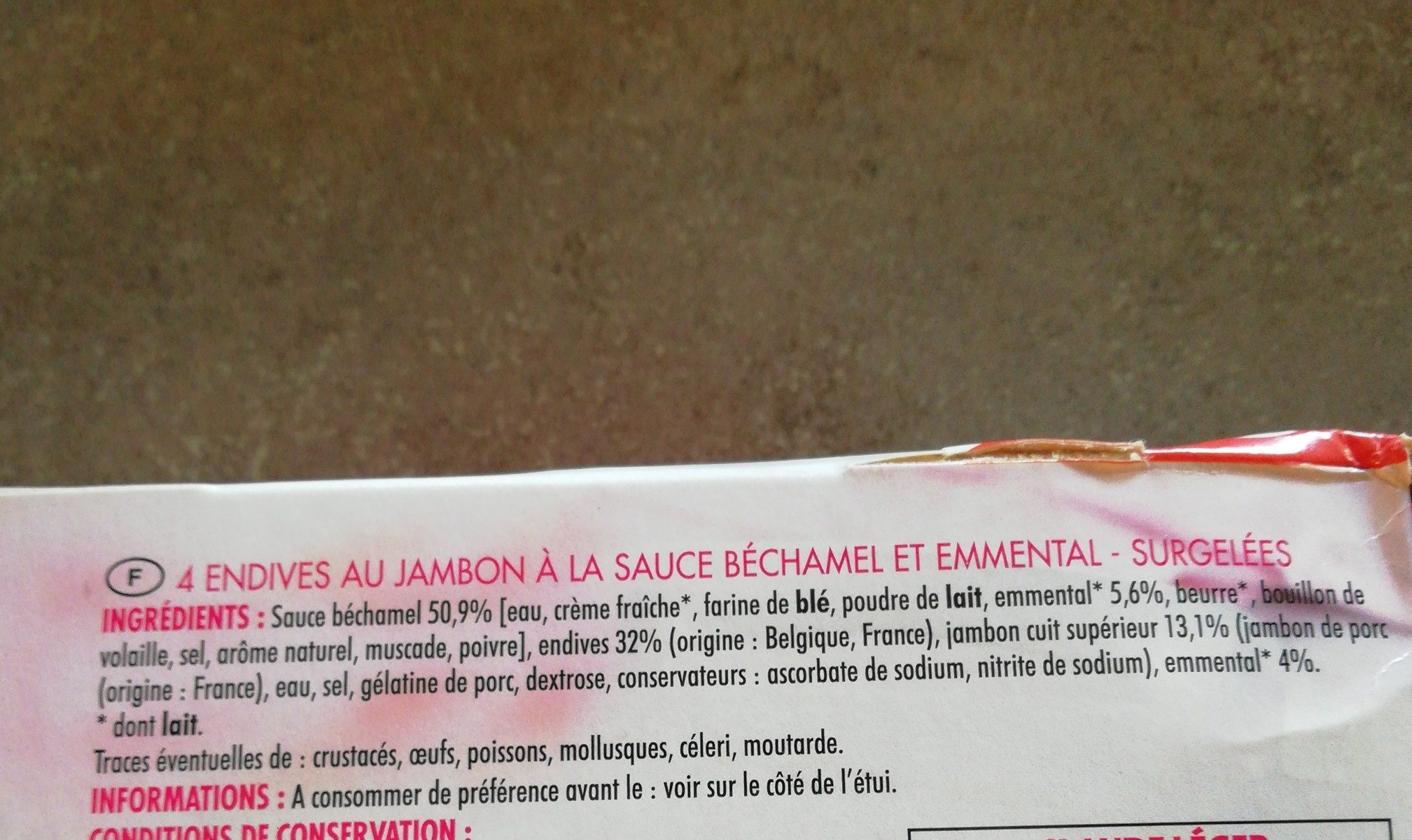 Endives au jambonSauce béchamel et emmental - Ingredients