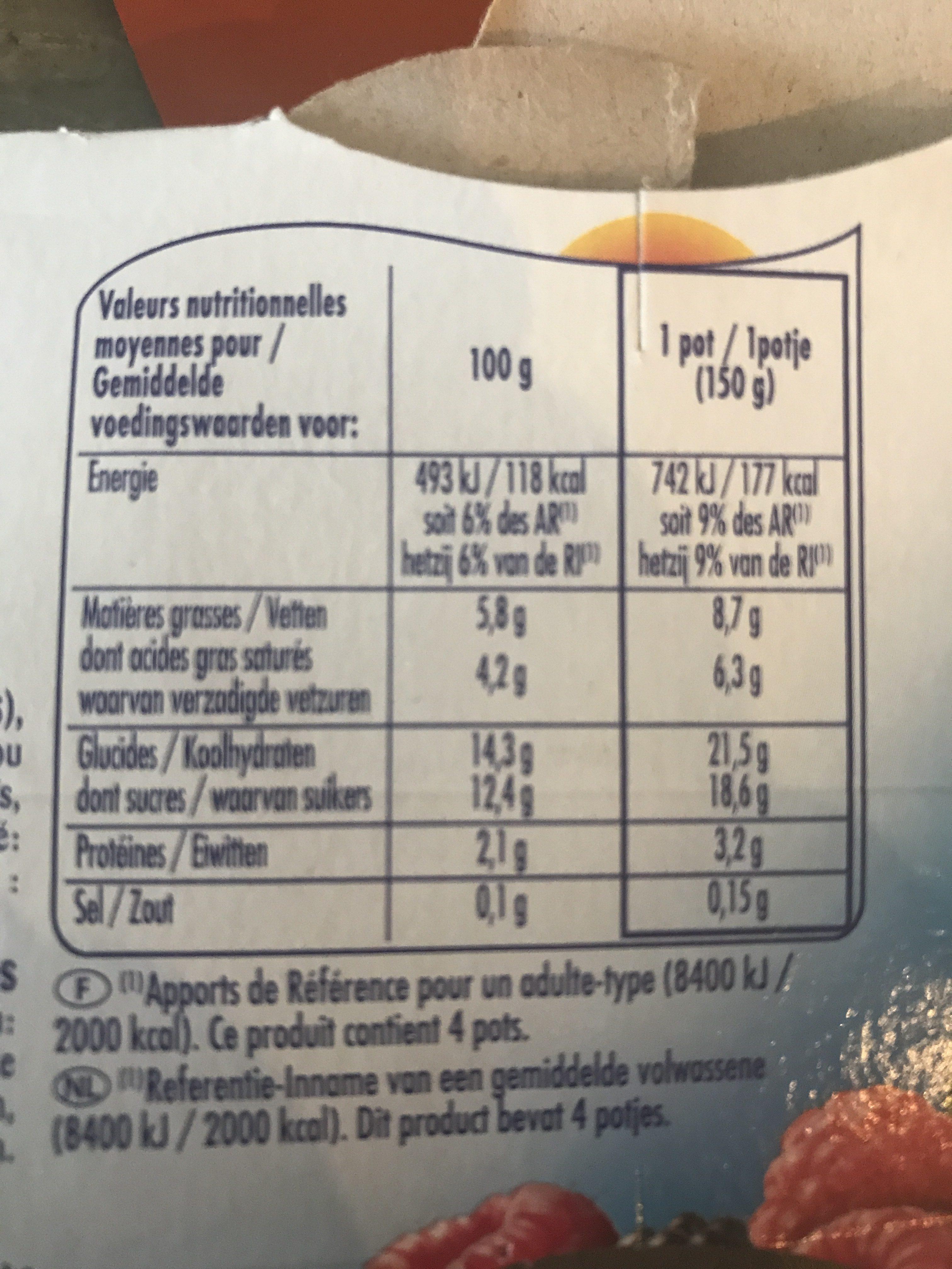 Pâturages Yaourt à la grecque sur lit de fruits les 4 pots de 150 g offre spéciale - Ingrédients - fr