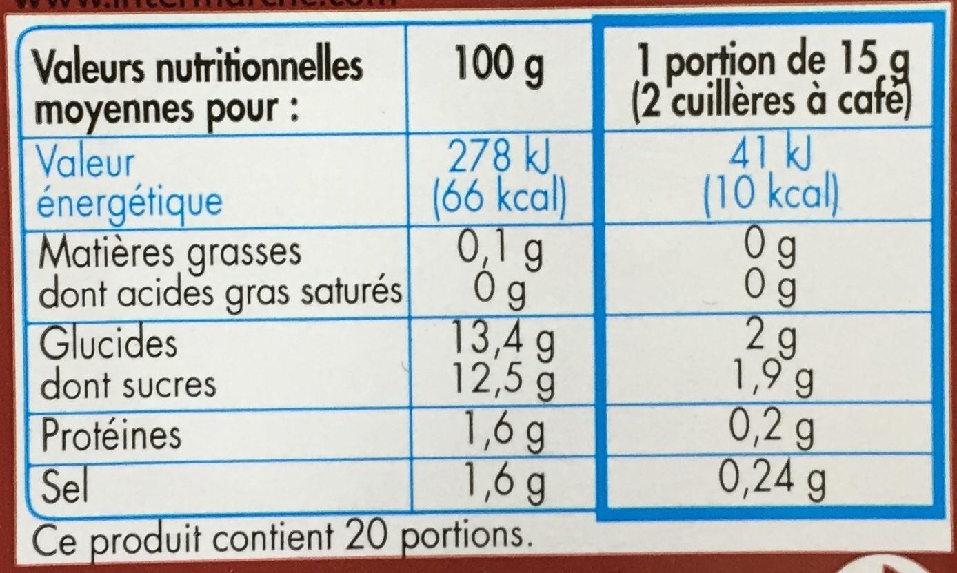 P'tit Ketchup (- 30 % de sucres) - Informations nutritionnelles