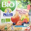 Purée de fruits Bio sans sucres ajoutés 4 x 100g Pomme fraise myrtille, BIO - Produit