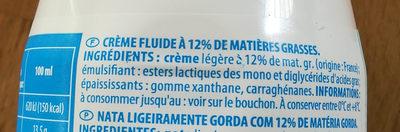 Crème fleurette légère - Ingredients