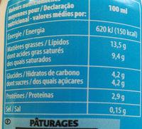 Crème fleurette légère - Nutrition facts