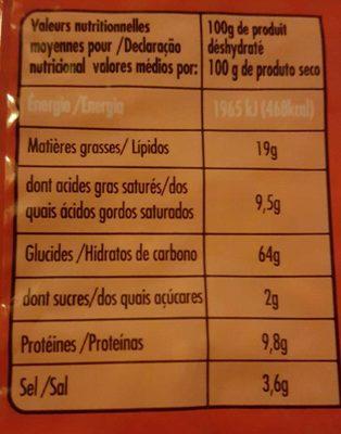 Nouilles Chinoises - Saveur Poulet - Nutrition facts - fr