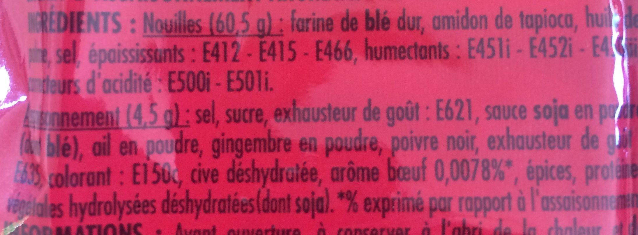 Nouilles Chinoises Saveur bœuf - Ingrediënten - fr