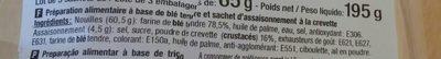 Nouilles Chinoises crevette - 成分 - fr