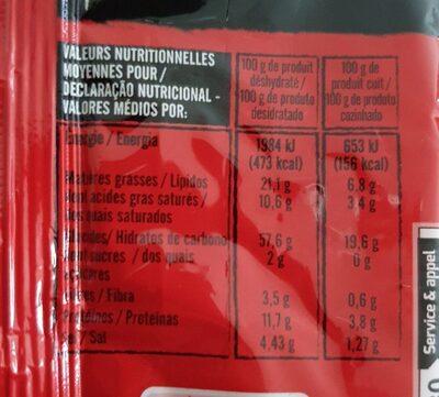 Nouilles Chinoises crevette - 营养成分 - fr