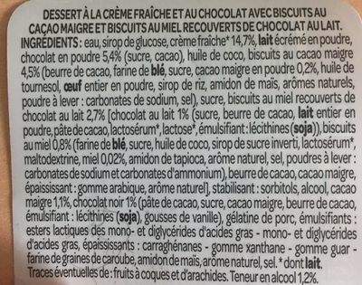 , Dessert tentation chocolat, le pot de 110 g - Ingrediënten
