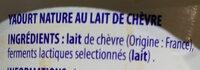 Yaourt au lait de chèvre - Ingrédients - fr