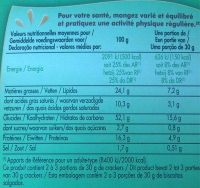 Crackers gouda et graines - Informations nutritionnelles