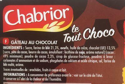 Le Tout choco - Ingredients