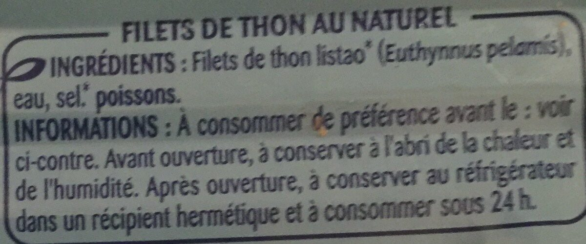 Filets de thon au naturel - Ingredients