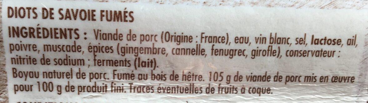 Diots de Savoie - Ingrédients - fr