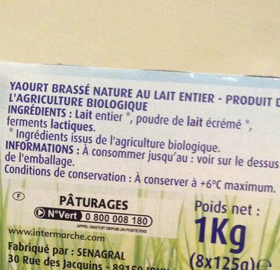 Yaourt brassé nature BIO, les 8 pots de 125 g - Ingrediënten - fr