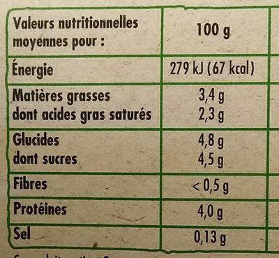 Yaourt brassé nature BIO, les 8 pots de 125 g - Voedingswaarden - fr