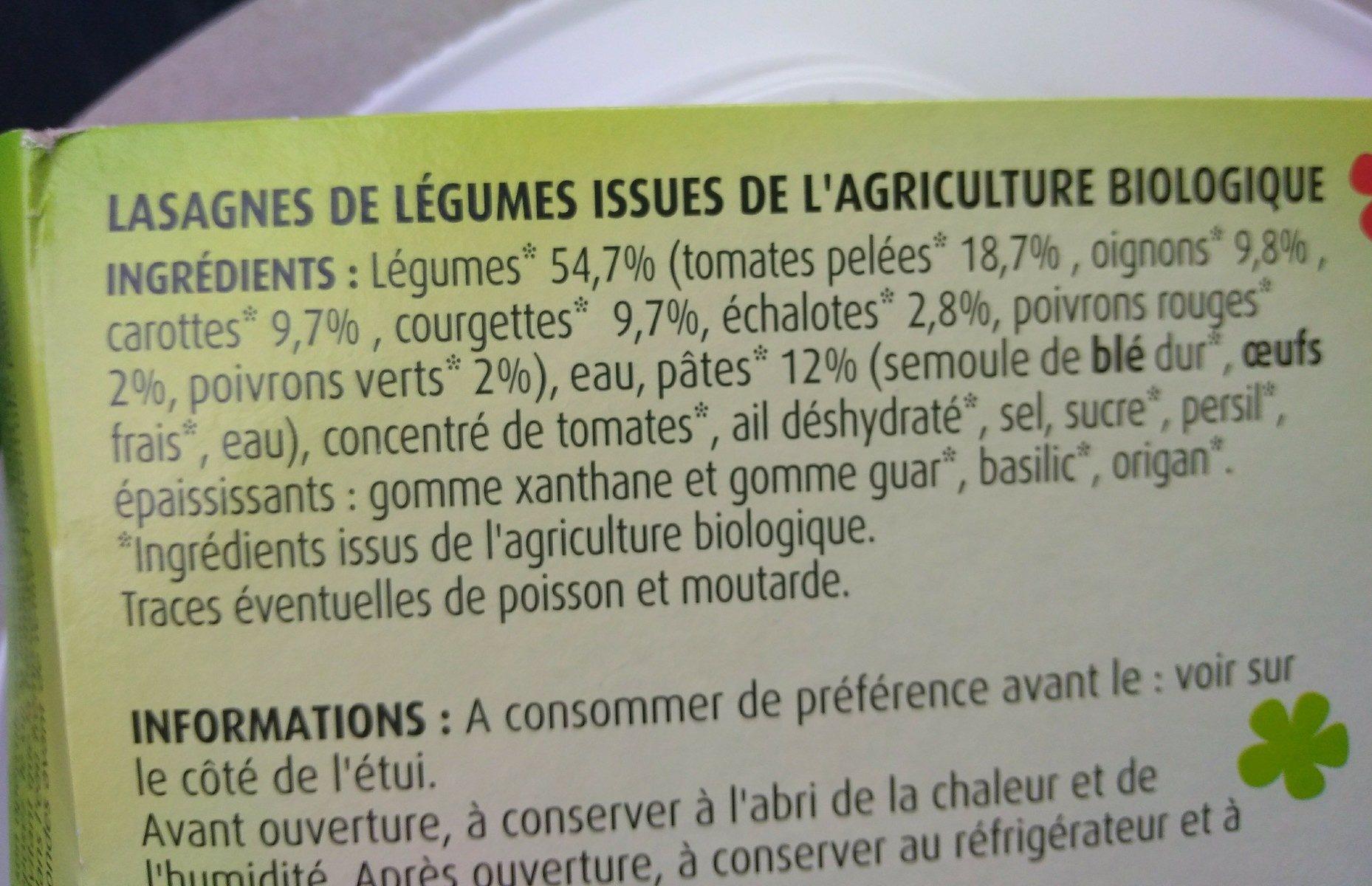 Lasagnes de legumes - Ingrédients - fr