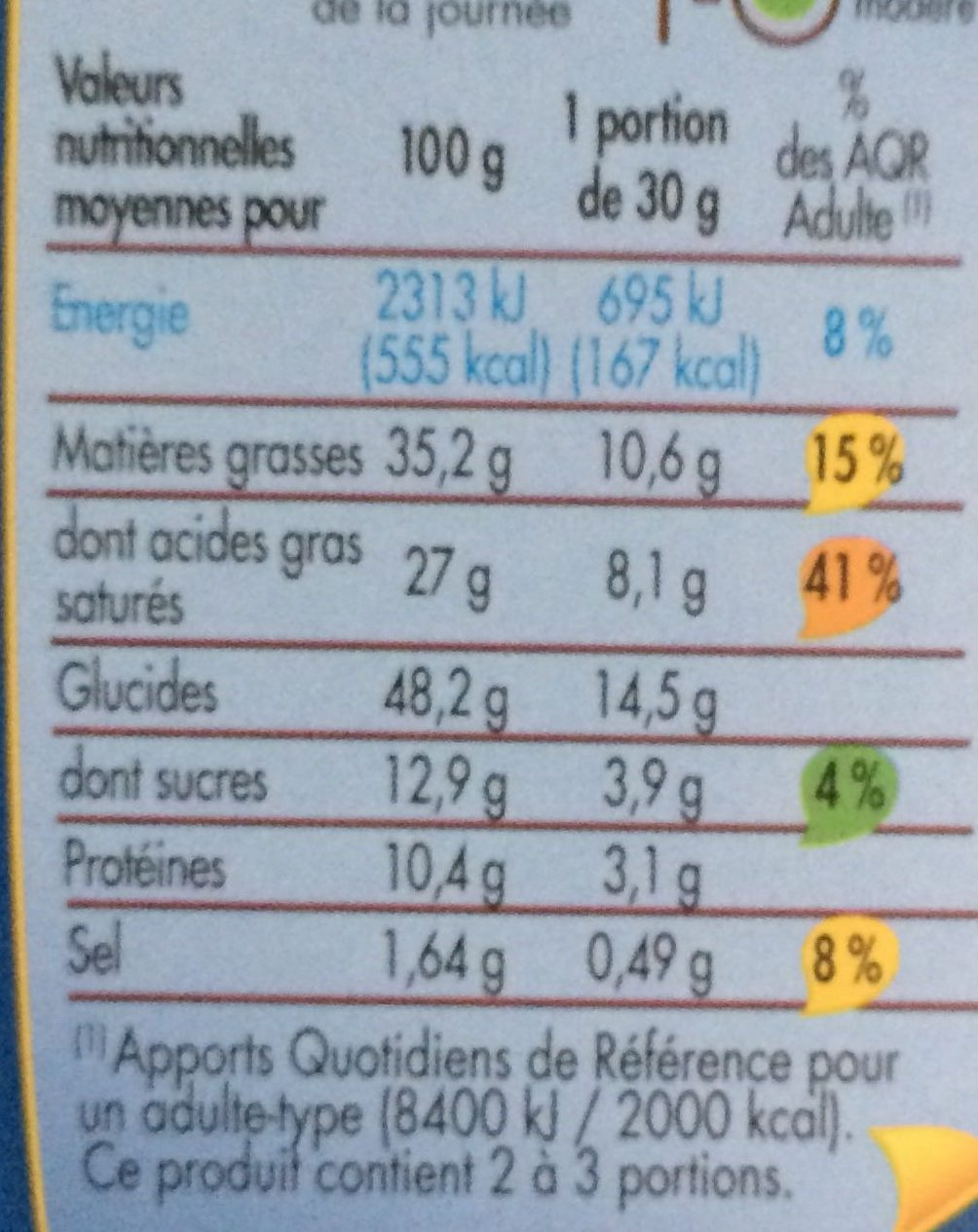 Gaufrettes fromage - Nutrition facts