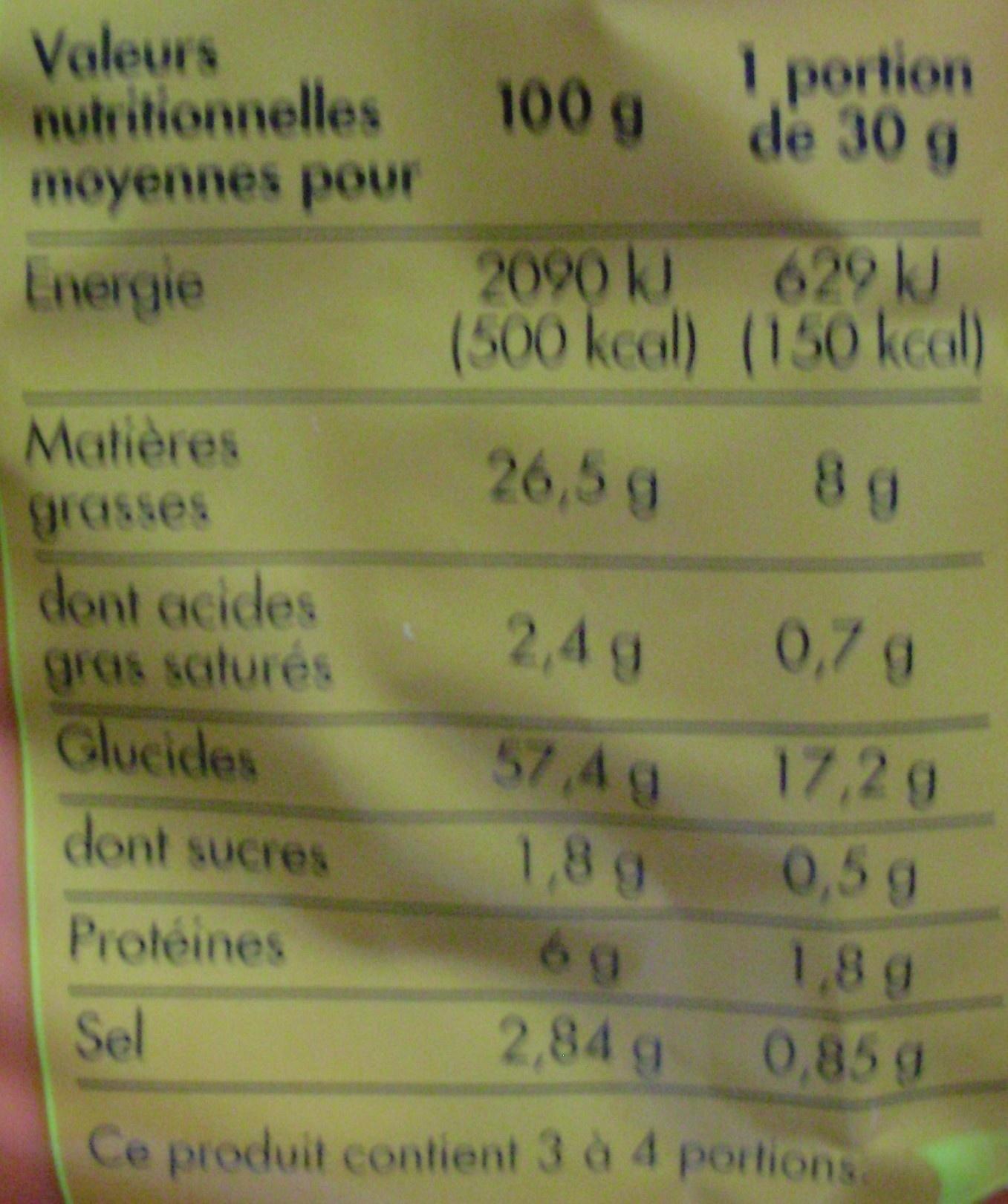 Crik'Crak Goût Fromage - Informations nutritionnelles - fr