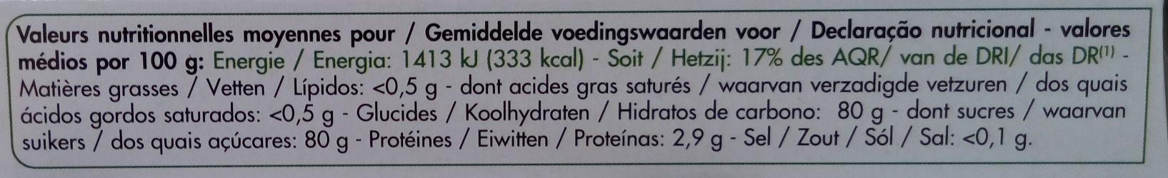 Comprimés Sucralose - Voedingswaarden - fr