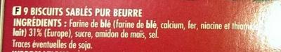 Shortbread - Ingredients - fr