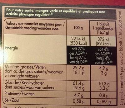 Shortbread - Voedingswaarden - fr