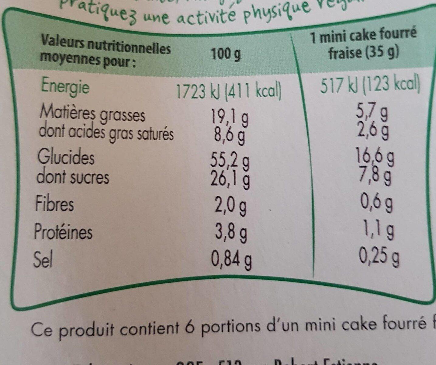 Cake Fraise sans Gluten - Nutrition facts