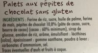 Palets pépites chocolat sans gluten - Ingredients - fr