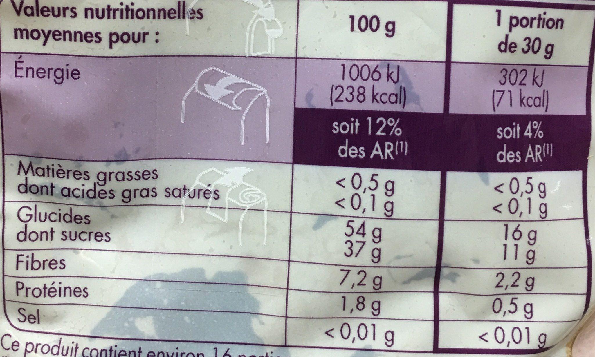 Pruneaux d'agen geant entiers ids - Información nutricional - fr